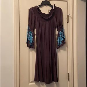 Brown and blue dress
